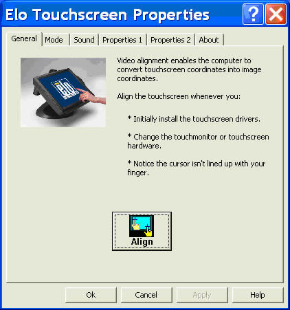 Elo Touchscreen Properties